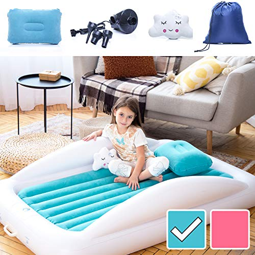 Sleepah Inflatable Toddler Travel Bed - Inflatable & Portable Bed Air Mattress Set -Blow up Mattress for Kids with High Safety Bed Rails. Set Includes Pump, Case, Pillow & Plush Toy (Aquamarine)