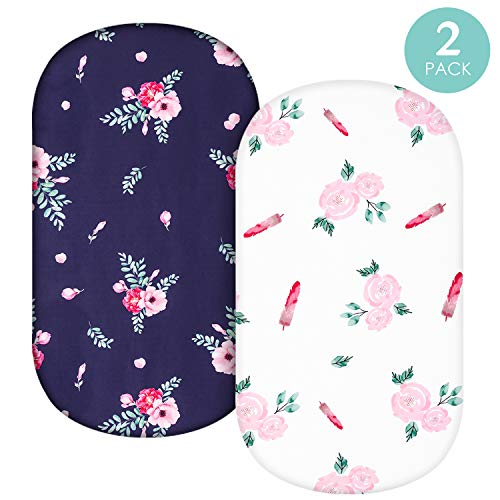 TILLYOU Microfiber Floral Bassinet Sheets for Girls, 32''x16'' Flexible for Different Cradle and Bassinet Mattress, Silky Soft Breathable Cozy Baby Cradle Sheets, 2 Pack Navy & Rose Floral