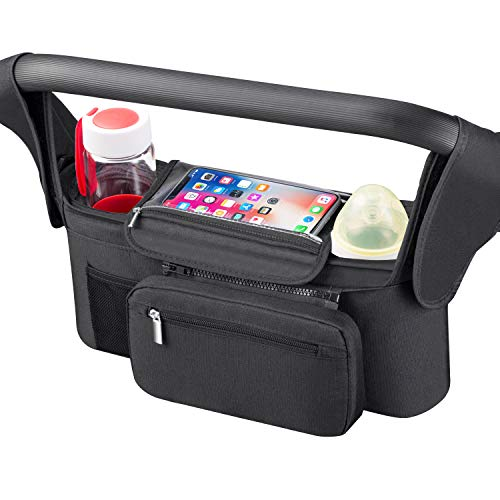 Universal Stroller Organizer [Upgraded] for Smarter Mom with Premium Deep Insulated Cup Holder,Pulaisen Stroller Accessories Bag with 2 Insulated Bottle Holders,for Bottle,Diaper,Phone,Toys,Snack etc