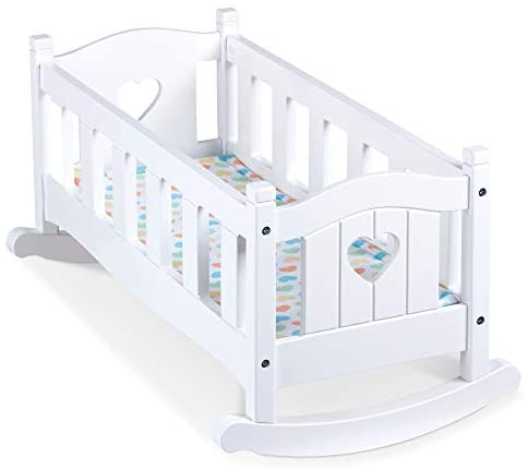 Melissa & Doug Mine to Love Wooden Play Cradle for Dolls, Stuffed Animals - White
