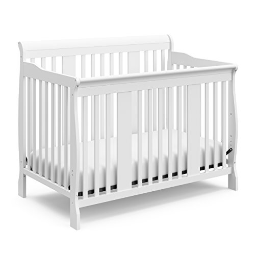 Storkcraft Tuscany 4-in-1 Convertible Crib, White Easily Converts to Toddler Bed, Day Bed or Full Bed, 3 Position Adjustable Height Mattress