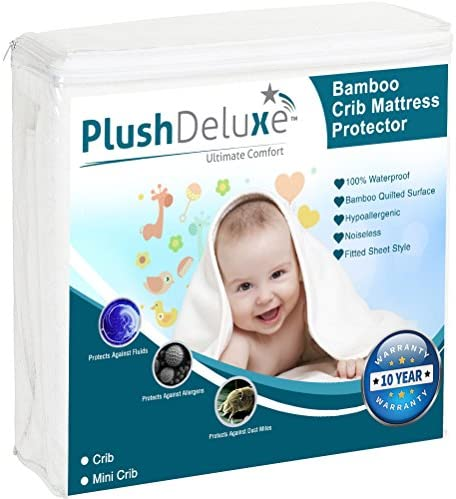 PlushDeluxe Crib Mattress Protector 100% Waterproof, Hypoallergenic, Vinyl Free – Bamboo Quilted Ultra Soft White Terry Fitted Sheet Style