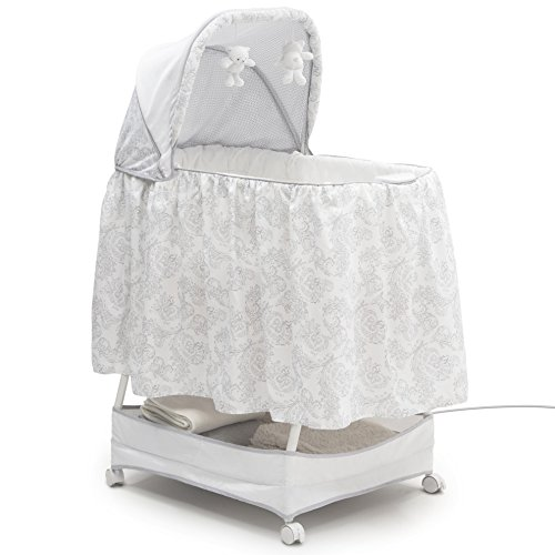 Simmons Kids Classic Hands-Free Auto-Glide Bedside Bassinet - Portable Crib Features Silent, Smooth Gliding Motion That Soothes Baby, Emerson