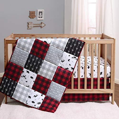 The Peanutshell Buffalo Plaid Crib Bedding Set for Boys or Girls   Red, Black, and Grey   3 Pieces - Crib Quilt, Fitted Sheet, Crib Skirt