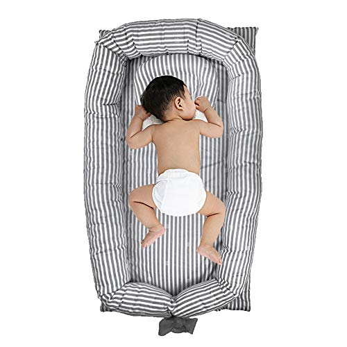 Windream Baby Bassinet Grey Striped-Baby Lounger Breathable, Washable, Portable and Lightweight Perfect for Cuddling, Lounging, Co Sleeping, Napping and Travel(0-24 Months)