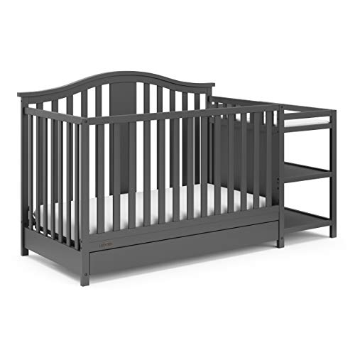 Graco Solano 4-in-1 Convertible Crib & Changer with Drawer Fixed Side Crib, Solid Pine & Wood Product Construction, Converts to Toddler Bed Day Bed or Full Bed (Mattress Not Included), Gray