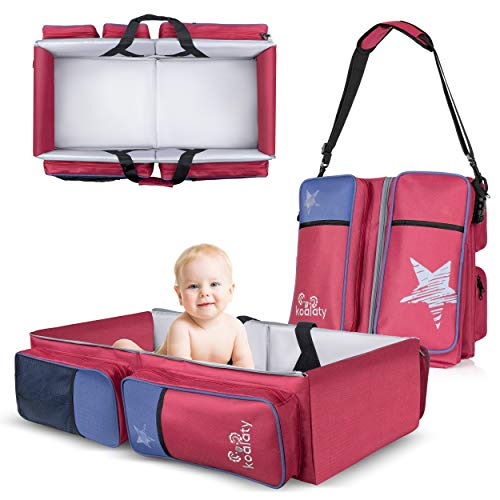 Koalaty 3-in-1 Universal Infant Travel Bag, Portable Bassinet Crib, Changing Station, and Diaper Bag for Newborns or Baby. Great Baby Shower Gift for New mom and dad.
