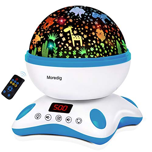 Moredig Baby Projector with Timer and Remote Built-in 12 Light Songs 360 Degree Rotating 8 Colorful Lights for Birthday, Parties, Bedroom (Blue White)