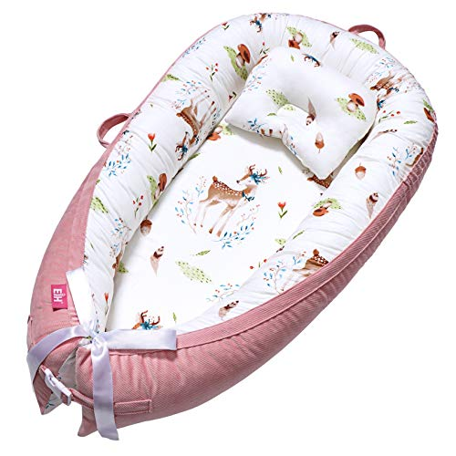 EIH Baby Nest,Baby Lounger Co-Sleeping Baby Bassinet for Bed Newborn Lounger 100% Soft Cotton Breathable and Portable Crib with Pillow Perfect for Traveling and Napping (Moose)