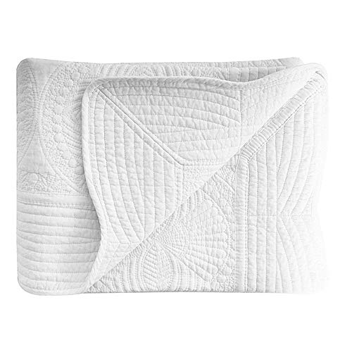 House White Baby Quilts, Cotton Embossed Stitching Baby Blanket, 36×46inch