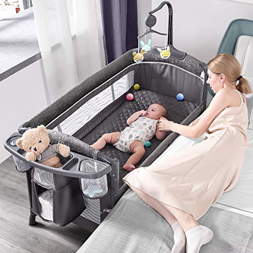 ADOVEL Baby Bassinet Bedside Crib, Pack and Play with Mattress, D...