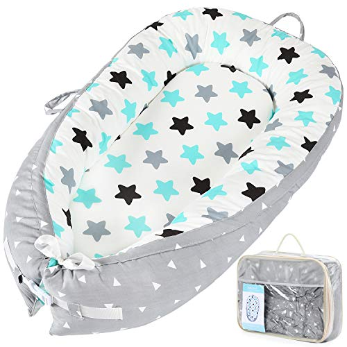 Baby Lounger Baby Nest Sharing Co Sleeping Bassinet - Portable Infant Crib for Bedroom/Travel - Premium Organic Cotton & Bigger Size(0-12months) - Removable & Machine Wash & Breathable