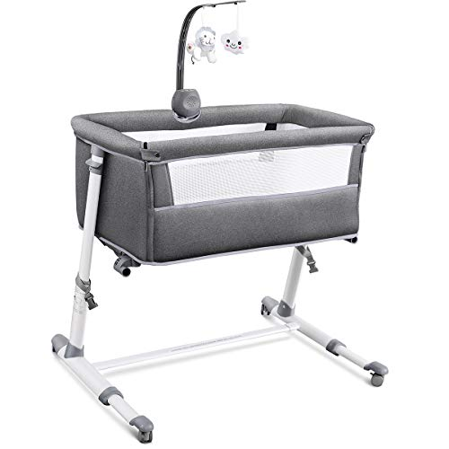 RONBEI Bassinet for Baby, Newborn Bedside Bassinets with Wheel, I...