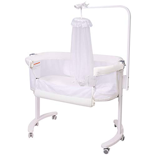 Baby Bassinet, Wooden Bedside Sleeper with Removable Mosquito Net...