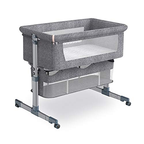 Bedside Crib Bedside Sleeper, Baby Bassinet with Mattress and Bre...
