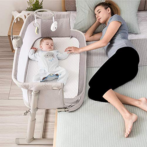 Kidsclub Baby Bedside Sleeper with 2 Replaceable Sheets, Baby Bed...