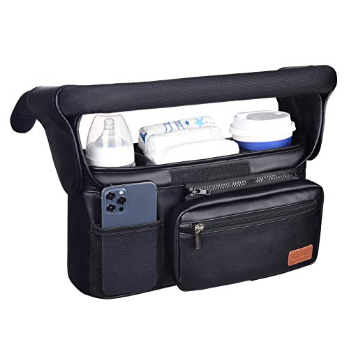 Waterproof Universal Stroller Organizer with Insulated Cup Holder...