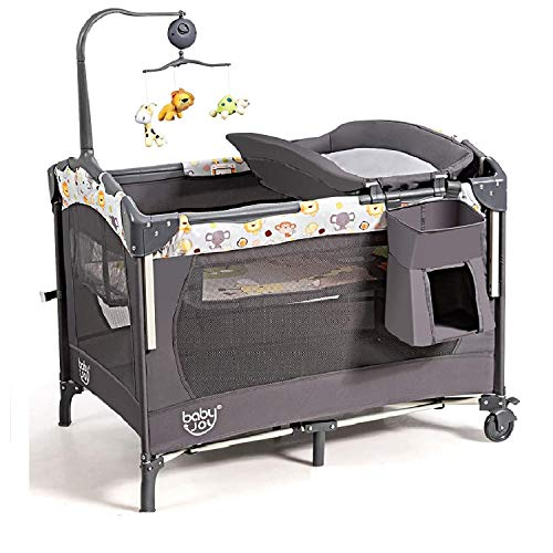 BABY JOY 3 in 1 Baby Bedside Sleeper, Pack and Play with Bassinet...