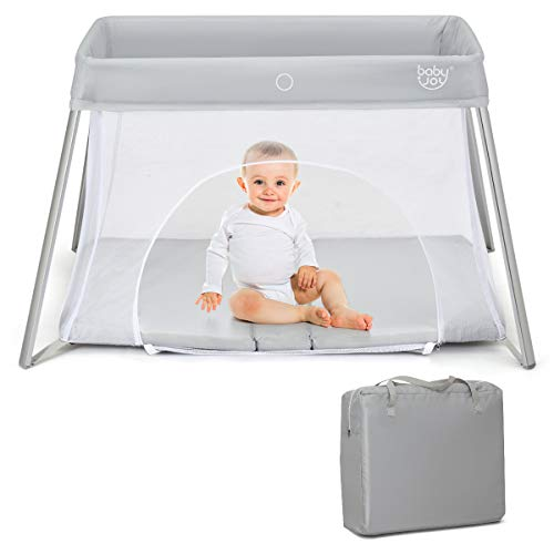 BABY JOY Baby Foldable Travel Crib, 2 in 1 Portable Playpen with ...