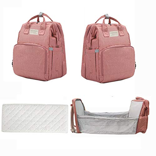 Diaper Bag Backpack with Auto Folding Crib Nappy Bag with Changin...