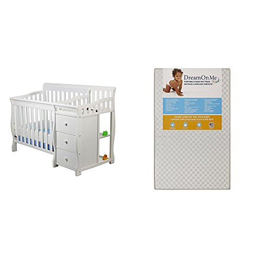 Dream On Me Jayden 4 in 1 Convertible Portable Crib w/ Changer wi...