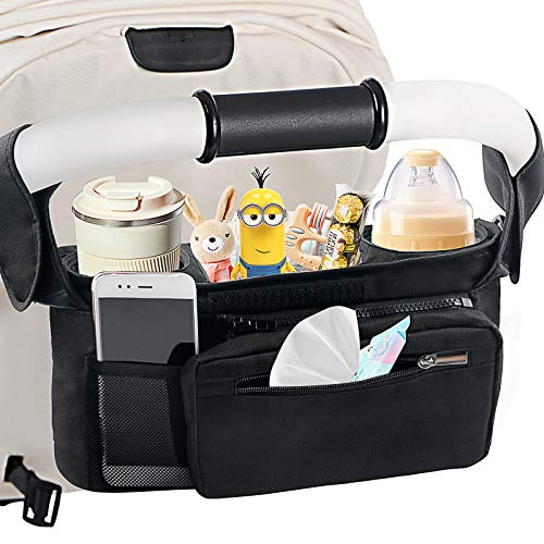 Mestron Universal Stroller Organizer Bag with Insulated Cup Holde