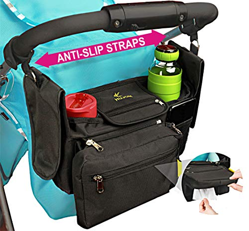 Non-Slip Stroller Organizer with Insulated Cup Holders, Shoulder ...