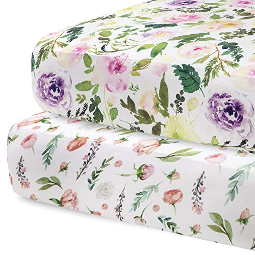 Pobibaby - 2 Pack Premium Fitted Baby Girl Crib Sheets for Standa...