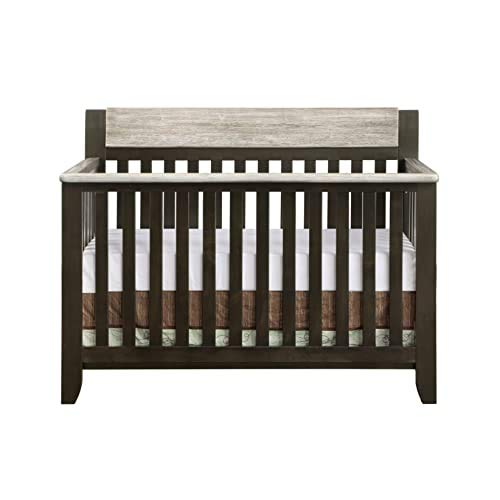 Suite Bebe Hayes 4 in 1 Convertible Crib, Coffee and Faux Barnwoo...