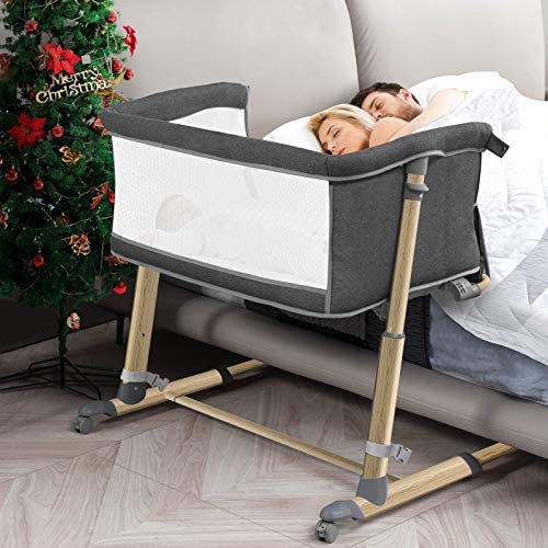 Bedside Bassinet for Babies, RONBEI 2 in1 Bedside Crib and Baby B